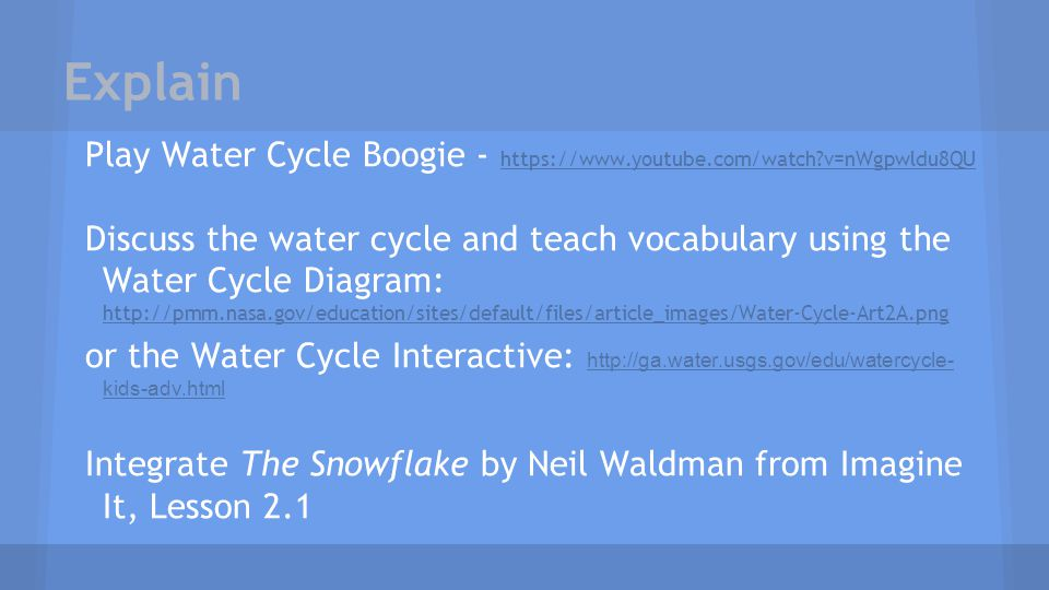 Explain Play Water Cycle Boogie - https://www.youtube.com/watch v=nWgpwldu8QU.