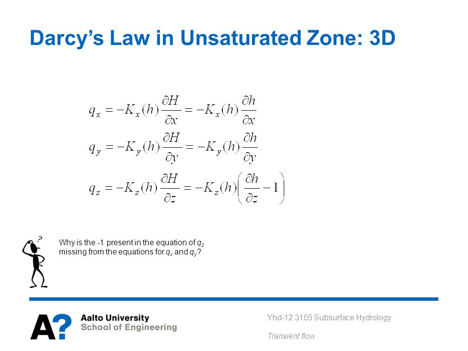 Darcy's Law in Unsaturated Zone: 3D