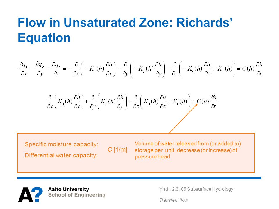 Flow in Unsaturated Zone: Richards' Equation