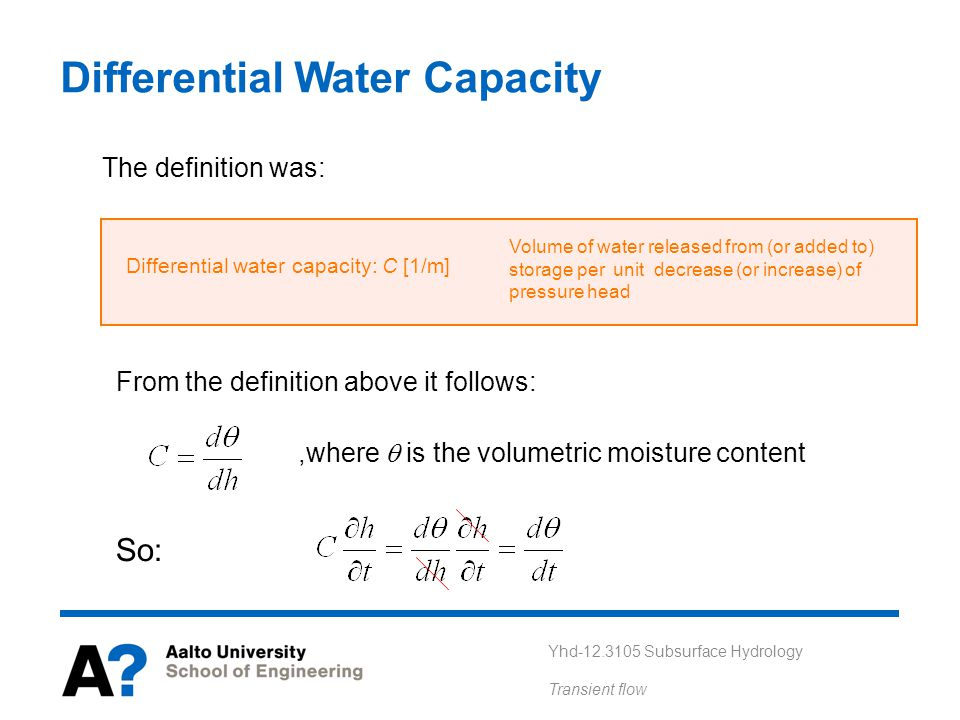 Differential Water Capacity