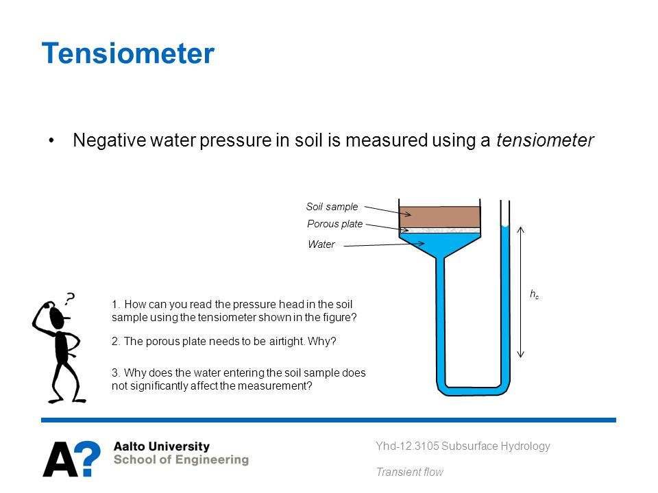 Tensiometer Negative water pressure in soil is measured using a tensiometer. Soil sample. Porous plate.