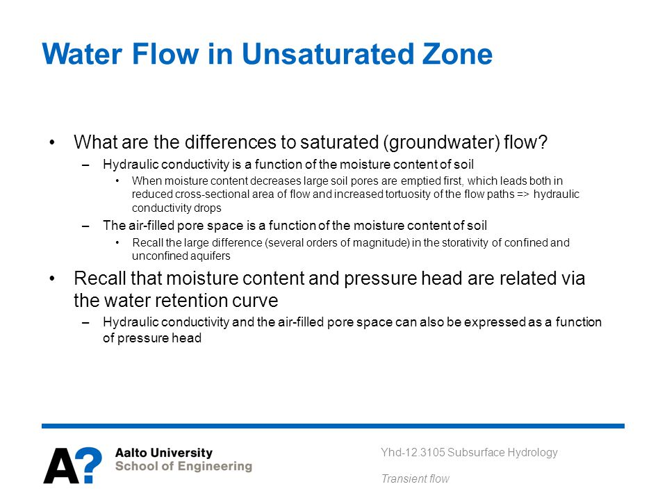 Water Flow in Unsaturated Zone