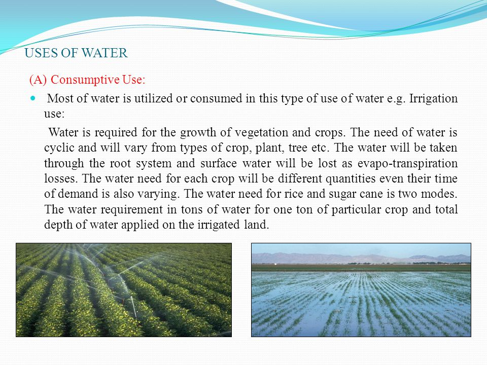 USES OF WATER (A) Consumptive Use: