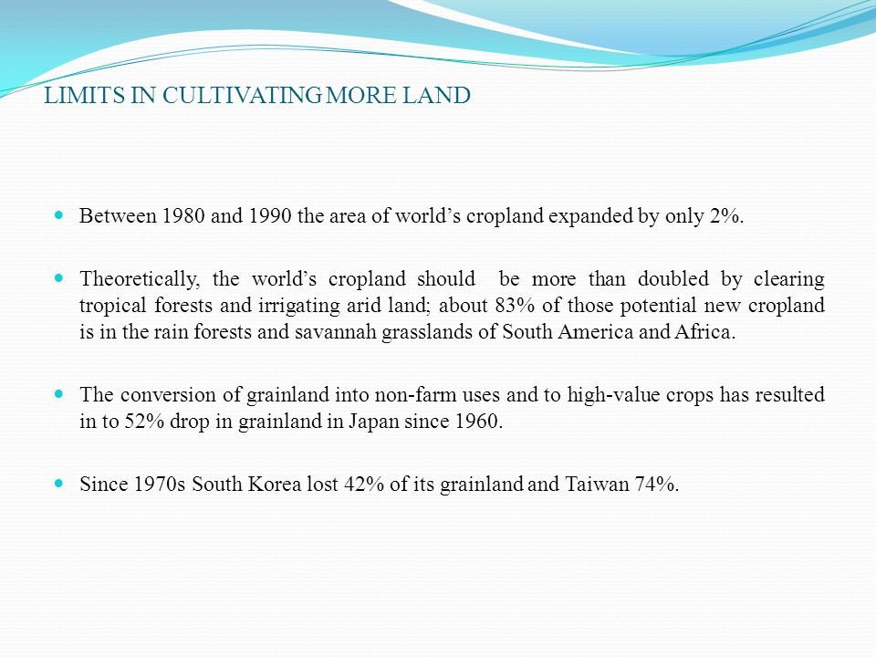 LIMITS IN CULTIVATING MORE LAND