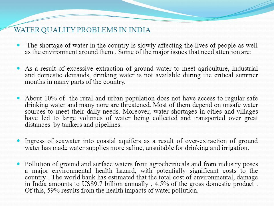 WATER QUALITY PROBLEMS IN INDIA