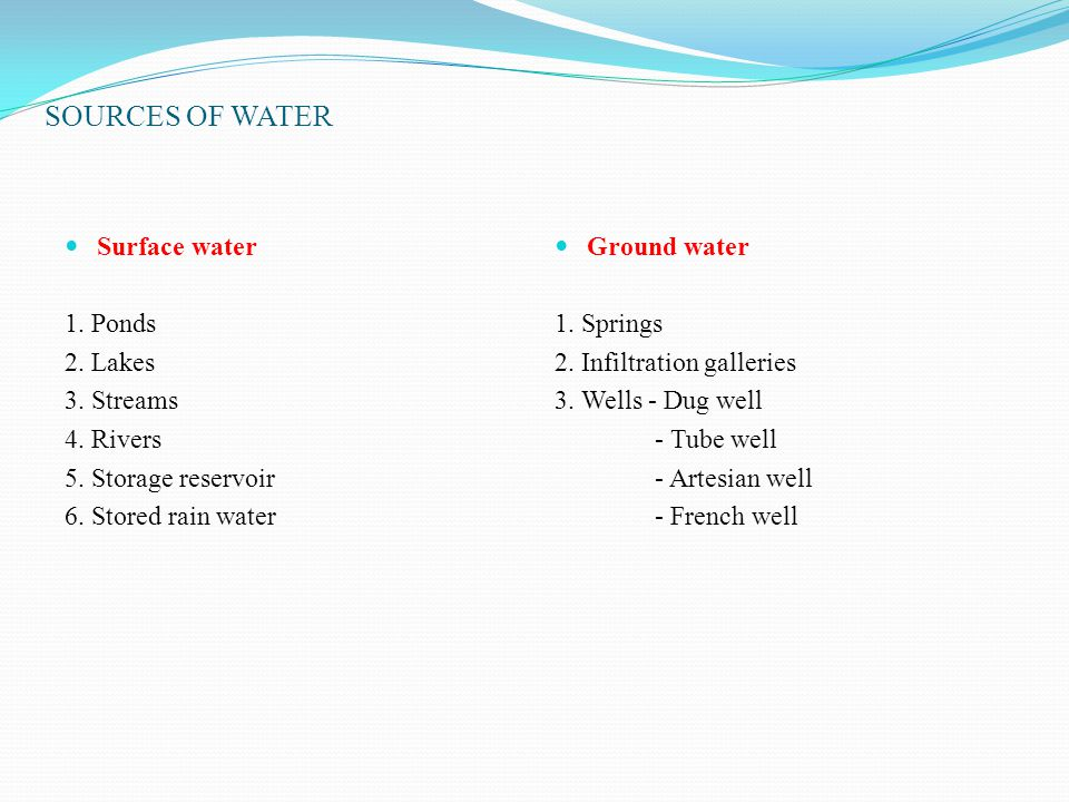 SOURCES OF WATER Surface water 1. Ponds 2. Lakes 3. Streams 4. Rivers