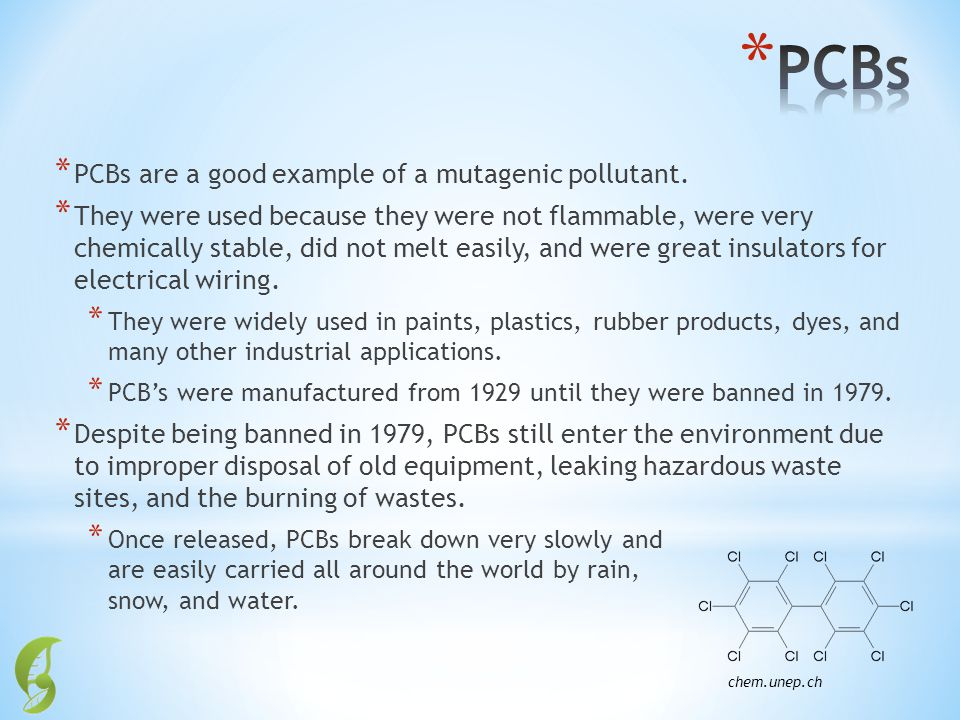 PCBs PCBs are a good example of a mutagenic pollutant.