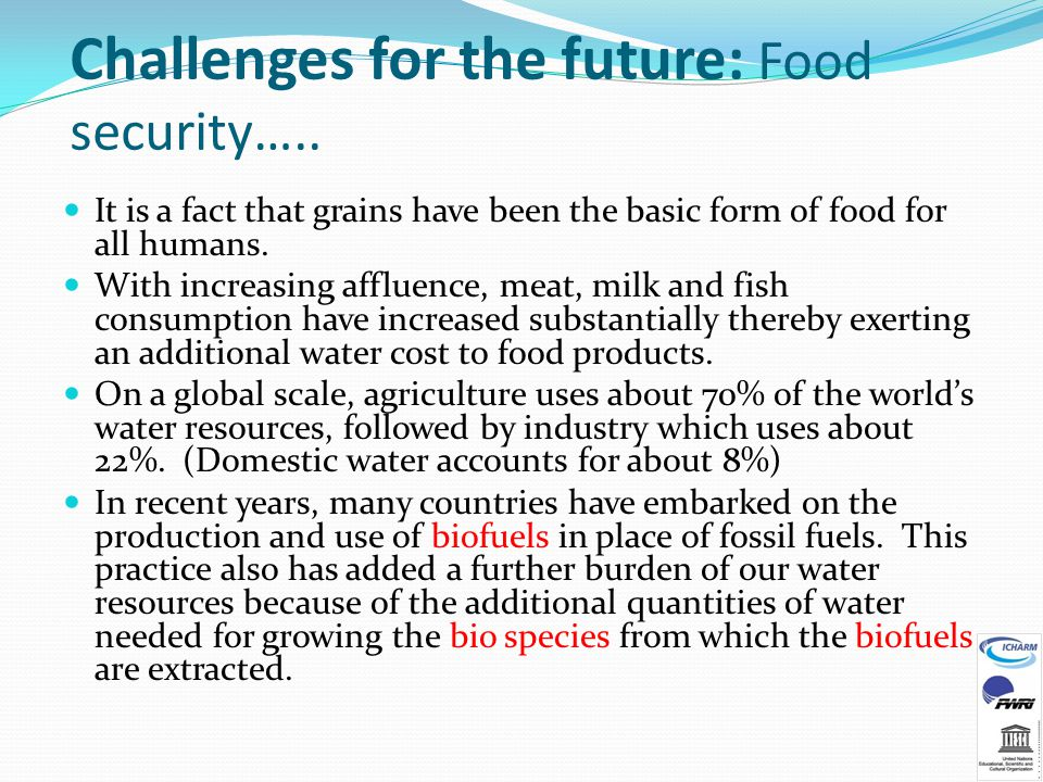 Challenges for the future: Food security…..