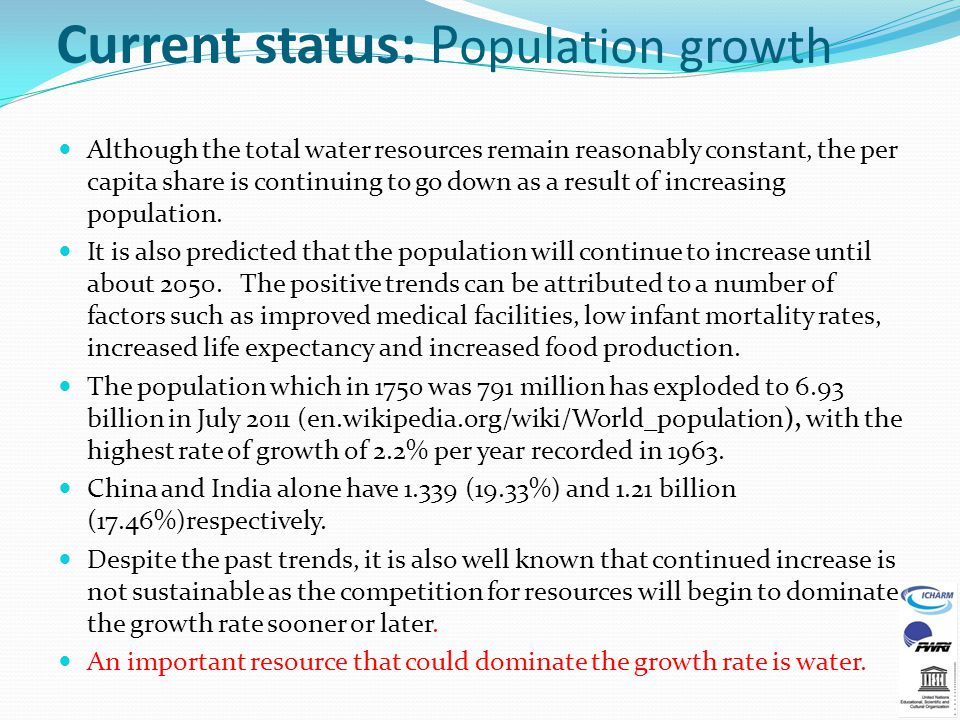 Current status: Population growth