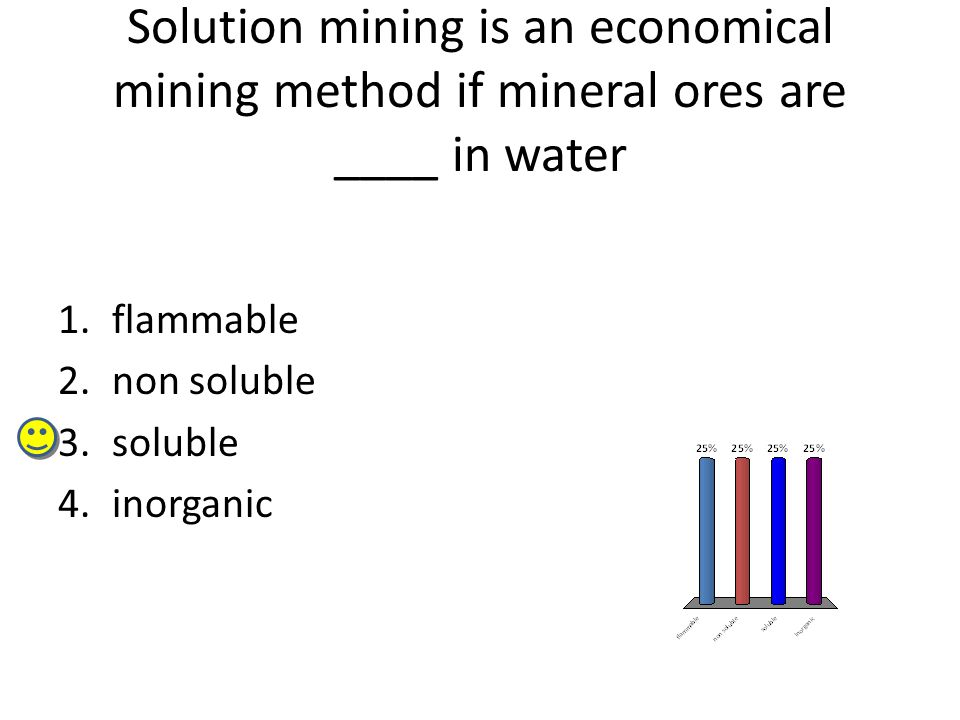 Solution mining is an economical mining method if mineral ores are ____ in water