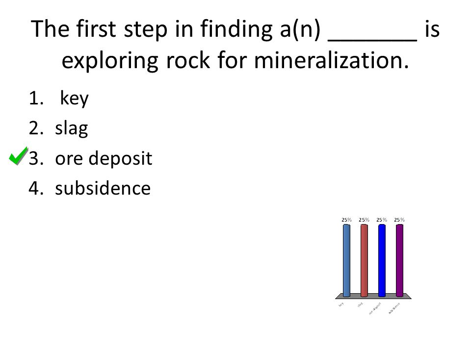 The first step in finding a(n) _______ is exploring rock for mineralization.