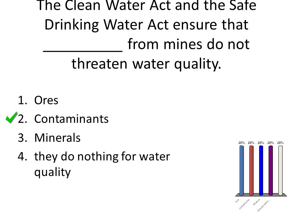 The Clean Water Act and the Safe Drinking Water Act ensure that __________ from mines do not threaten water quality.