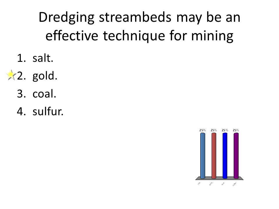 Dredging streambeds may be an effective technique for mining