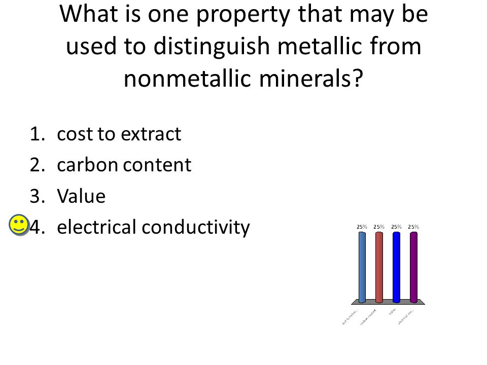 What is one property that may be used to distinguish metallic from nonmetallic minerals