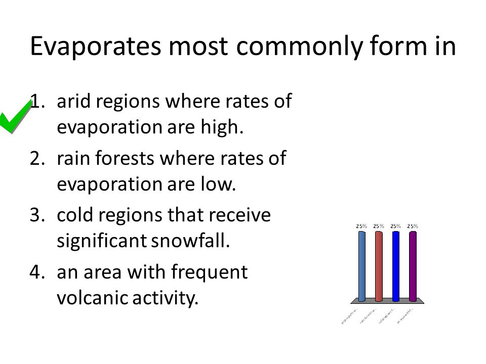 Evaporates most commonly form in