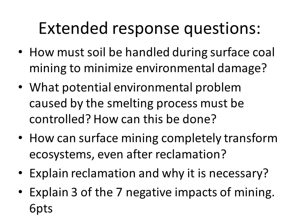 Extended response questions:
