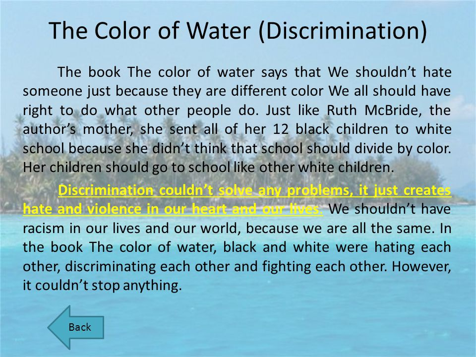 The Color of Water (Discrimination)