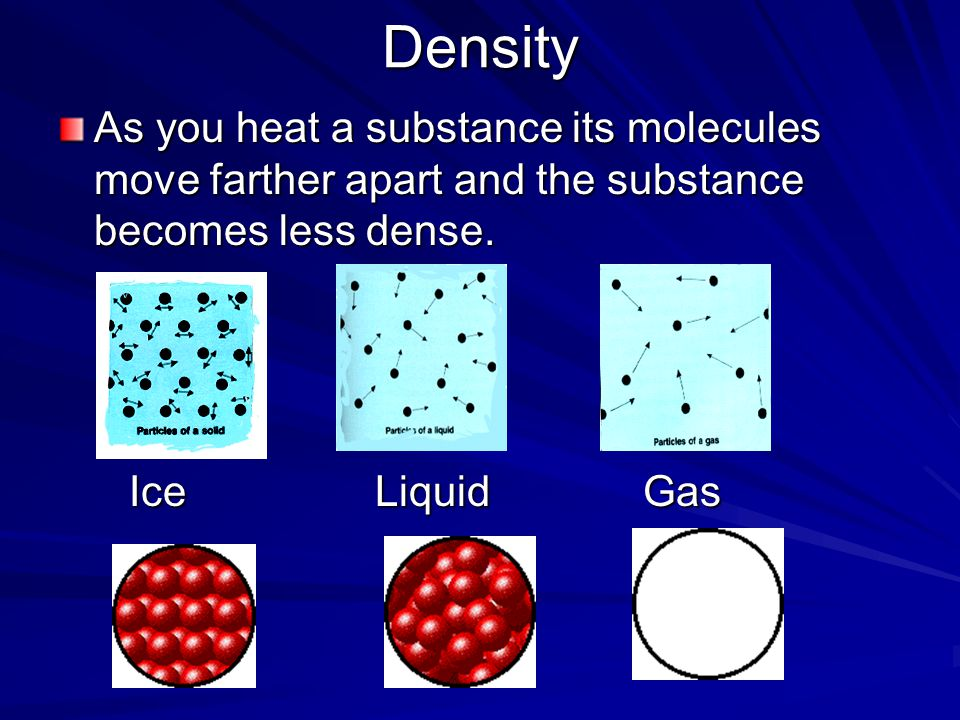 Density As you heat a substance its molecules move farther apart and the substance becomes less dense.