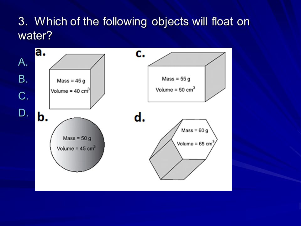 3. Which of the following objects will float on water
