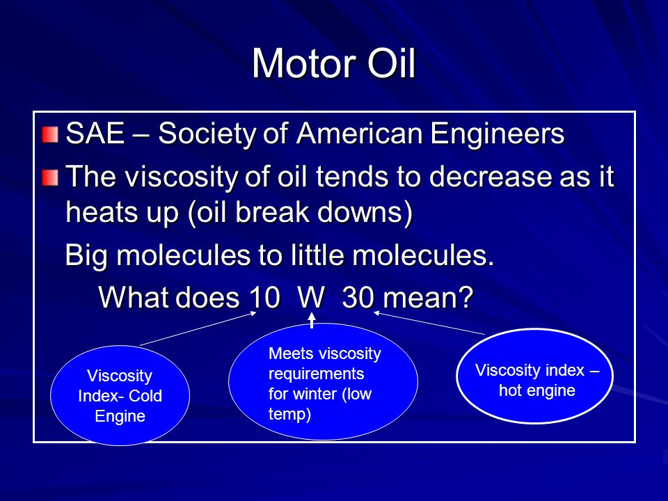 Motor Oil SAE – Society of American Engineers