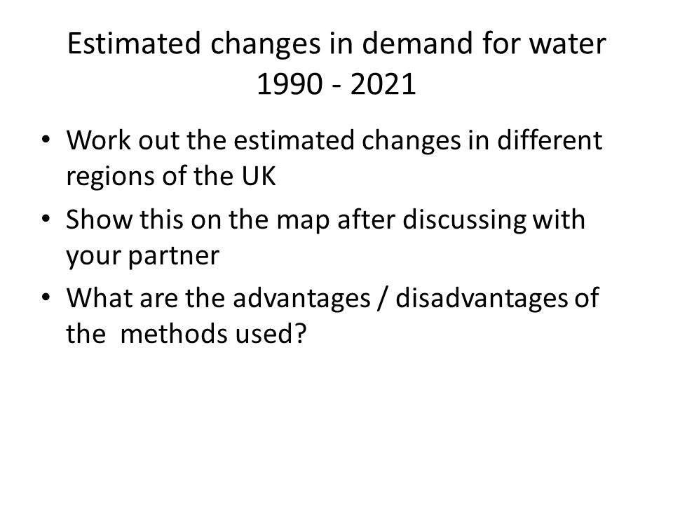 Estimated changes in demand for water 1990 - 2021