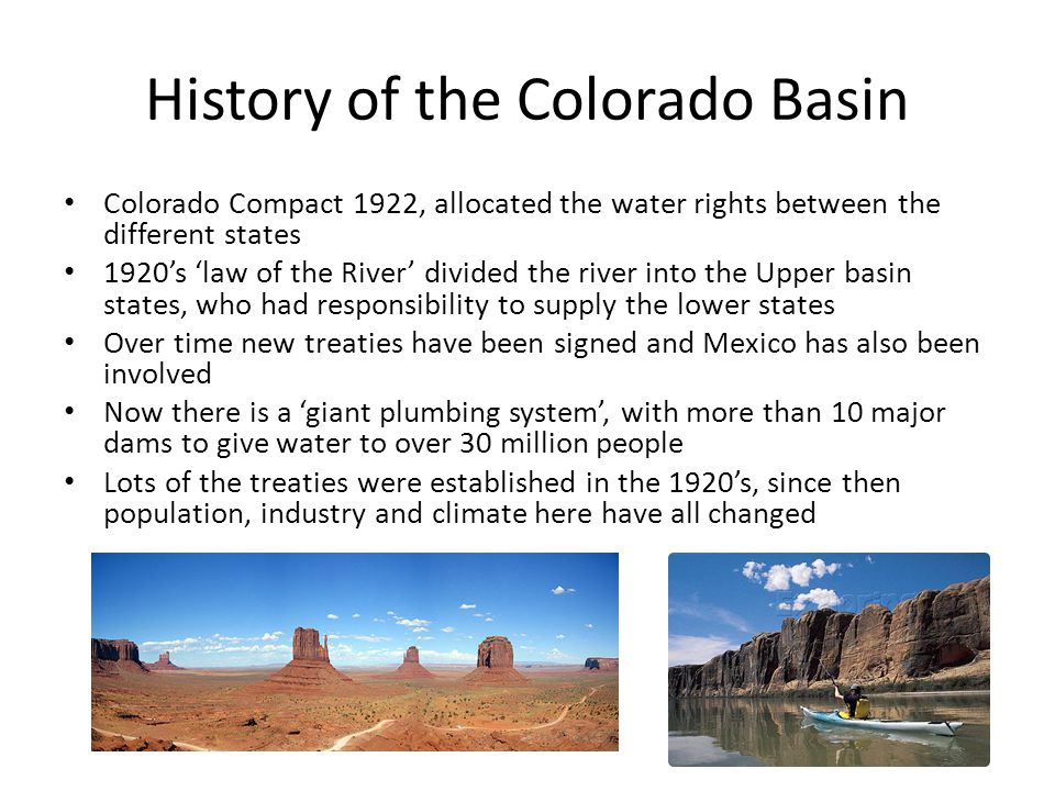 History of the Colorado Basin