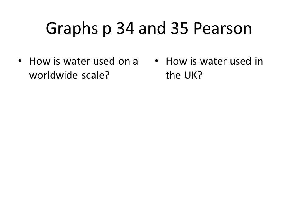 Graphs p 34 and 35 Pearson How is water used on a worldwide scale