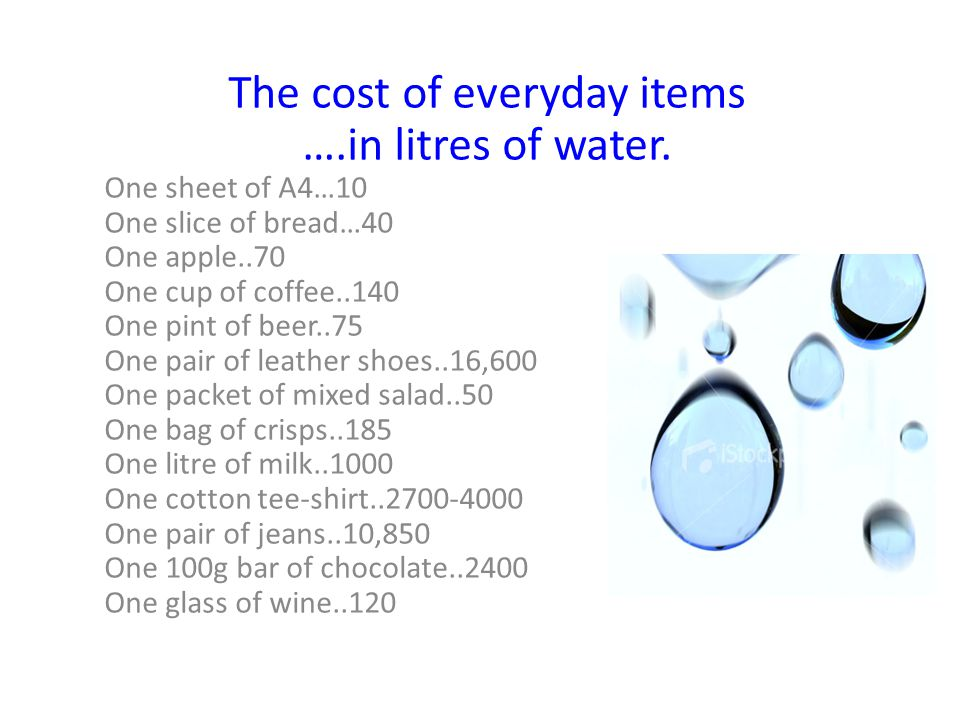 The cost of everyday items