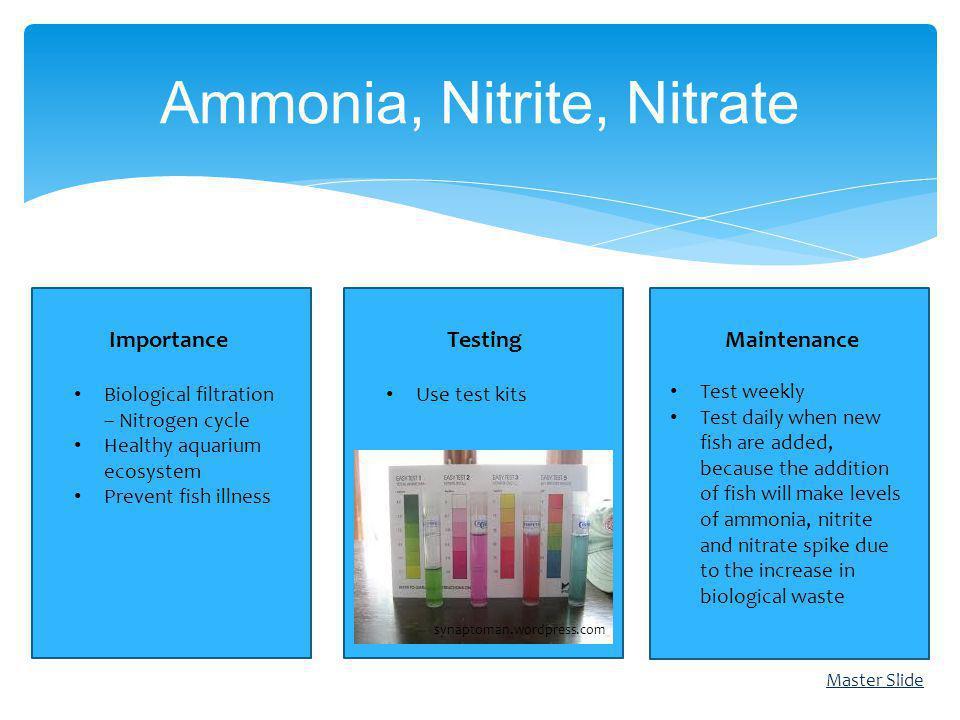 Ammonia, Nitrite, Nitrate