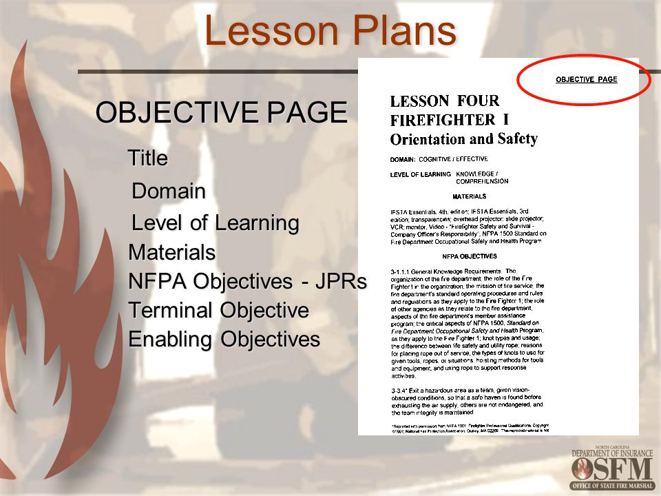 Lesson Plans OBJECTIVE PAGE Title Domain Level of Learning Materials