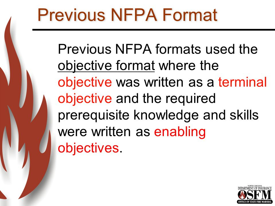 Previous NFPA Format