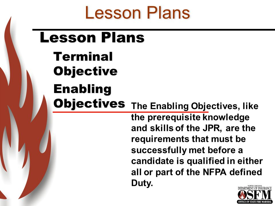 Lesson Plans Lesson Plans Terminal Objective Enabling Objectives