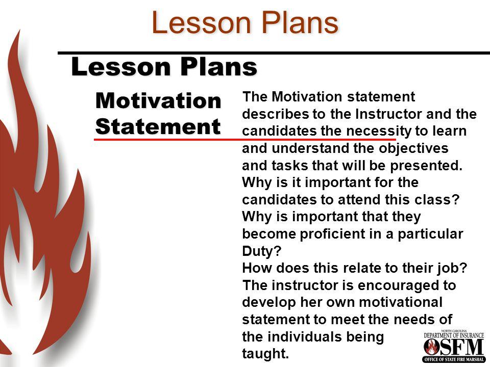 Lesson Plans Lesson Plans Motivation Statement