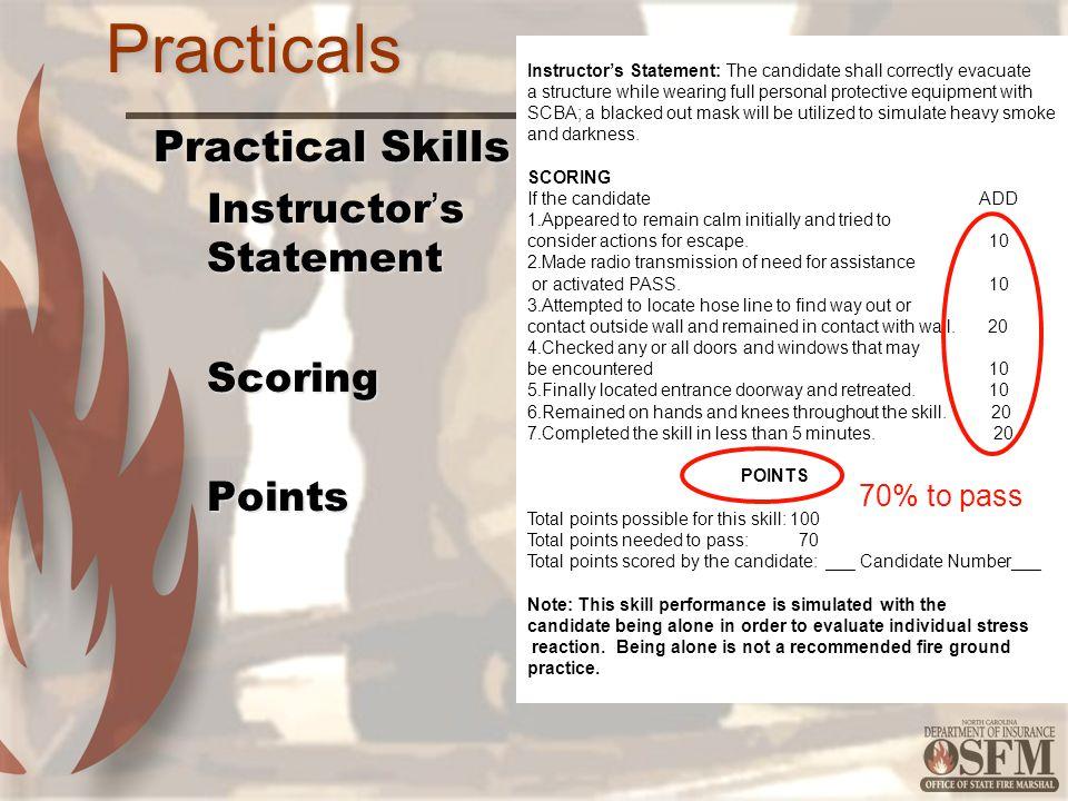Practicals Practical Skills Instructor's Statement Scoring Points