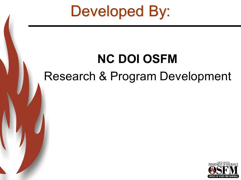 NC DOI OSFM Research & Program Development