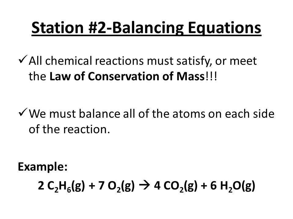 Station #2-Balancing Equations