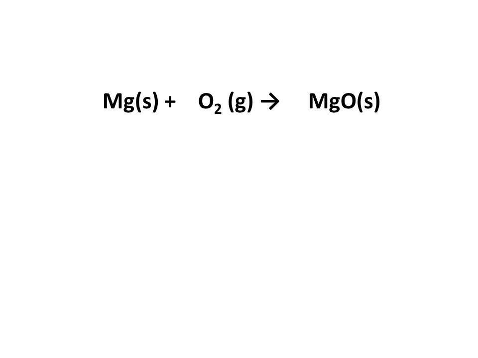 Mg(s) + O2 (g) → MgO(s)