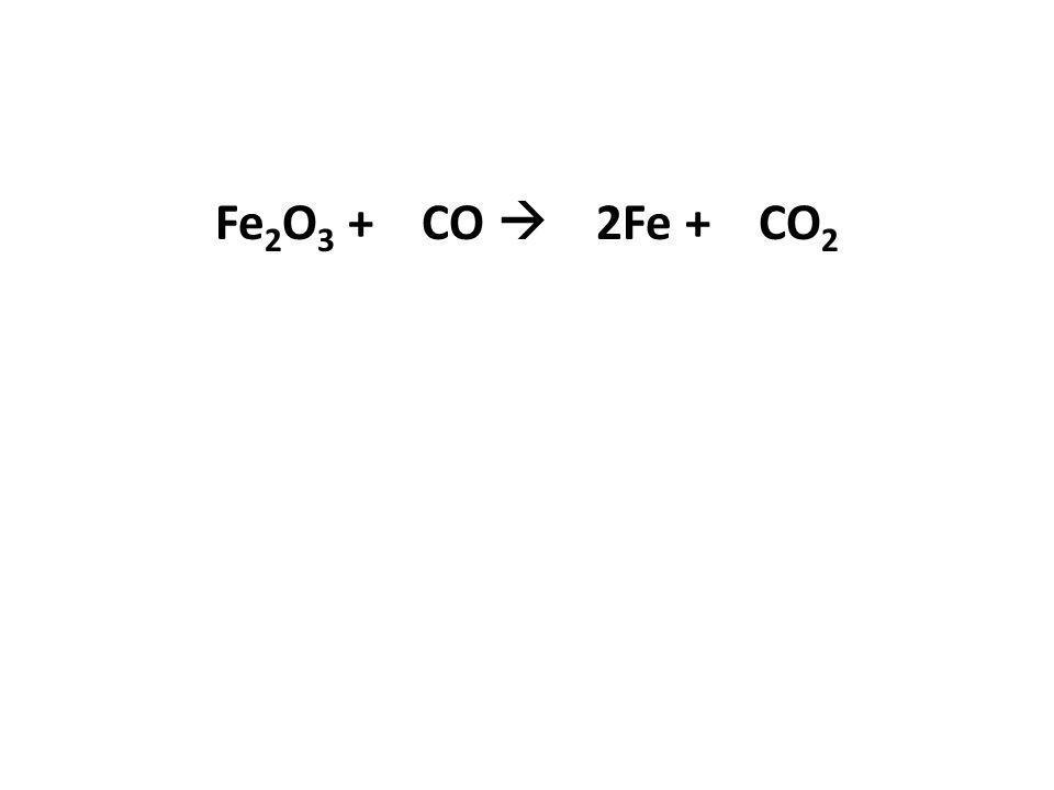 Fe2O3 + CO  2Fe + CO2