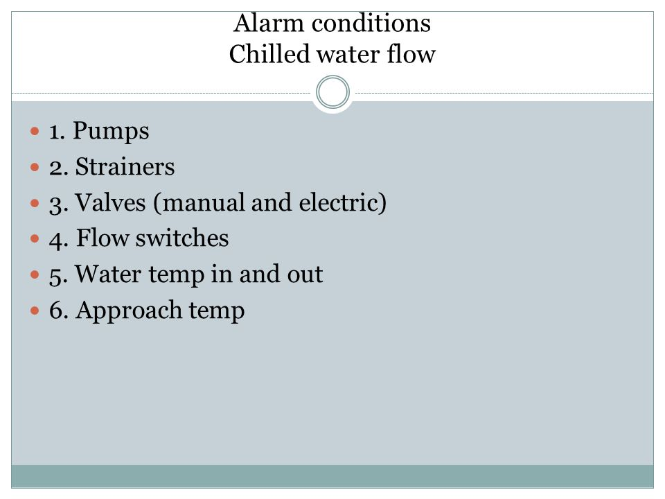 Alarm conditions Chilled water flow