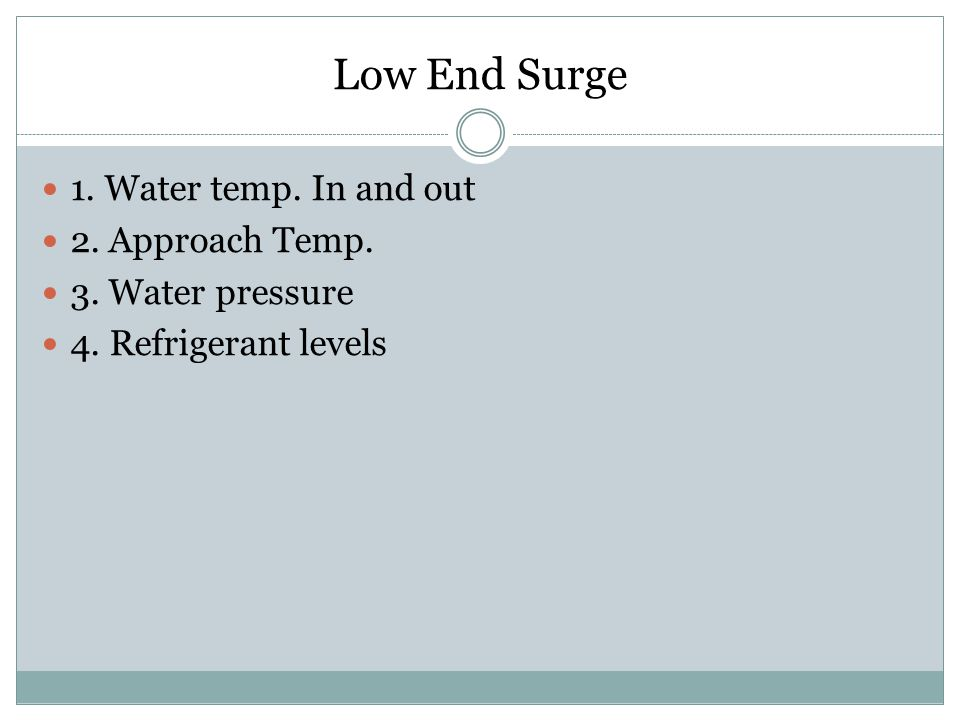 Low End Surge 1. Water temp. In and out 2. Approach Temp.