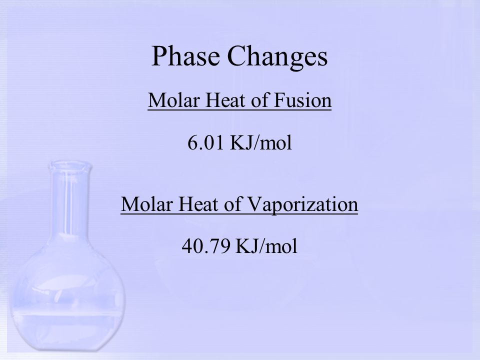 Phase Changes Molar Heat of Fusion 6.01 KJ/mol Molar Heat of Vaporization 40.79 KJ/mol