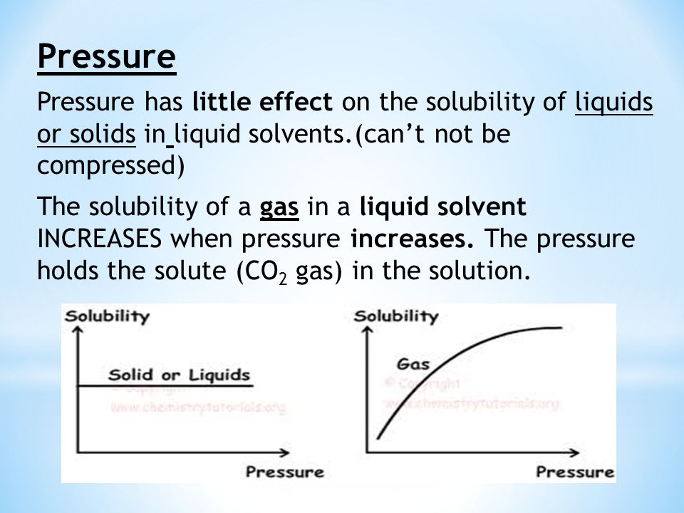 Pressure Pressure has little effect on the solubility of liquids or solids in liquid solvents.(can't not be compressed)