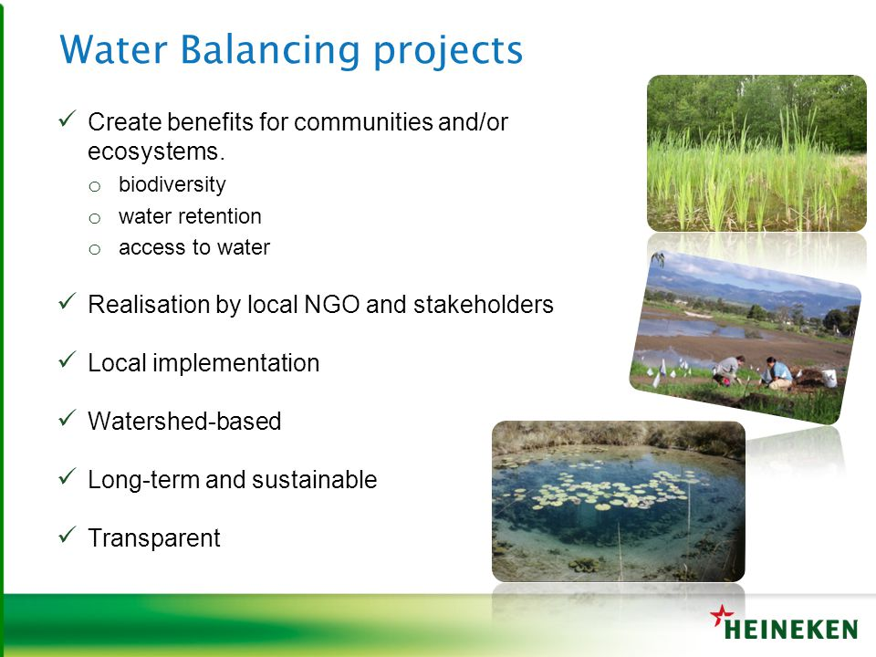 Water Balancing projects