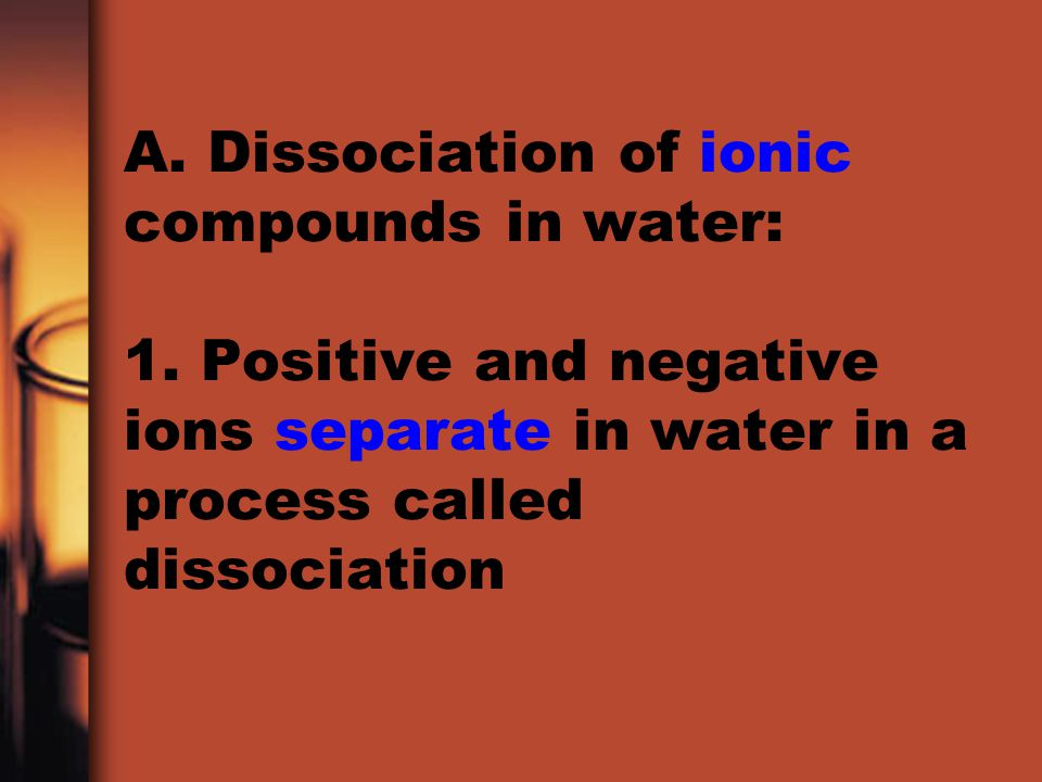 A. Dissociation of ionic compounds in water: 1