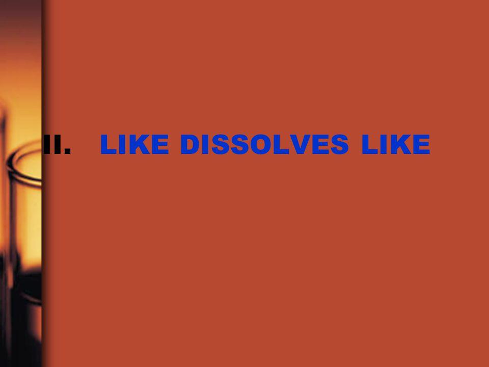 II. LIKE DISSOLVES LIKE