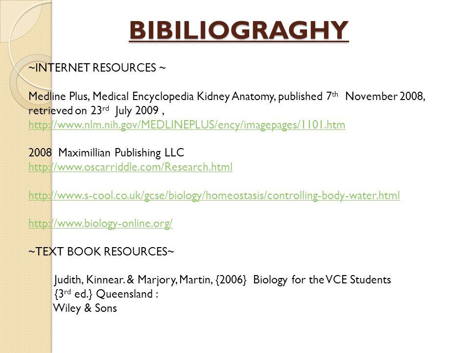 BIBILIOGRAGHY ~INTERNET RESOURCES ~