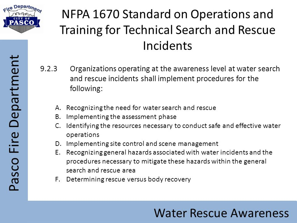 NFPA 1670 Standard on Operations and Training for Technical Search and Rescue Incidents