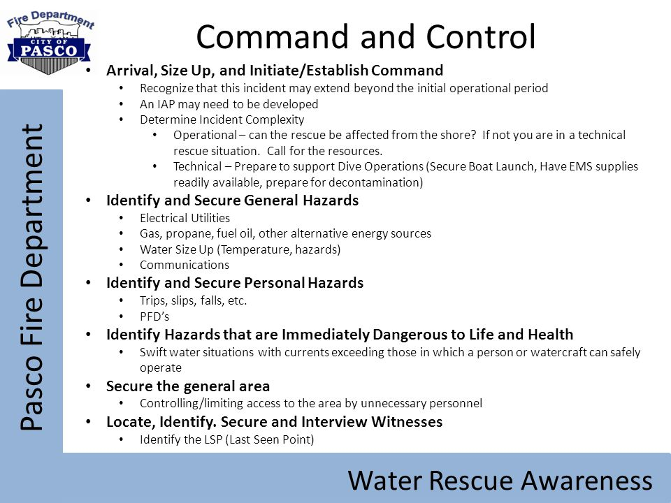Command and Control Pasco Fire Department Water Rescue Awareness
