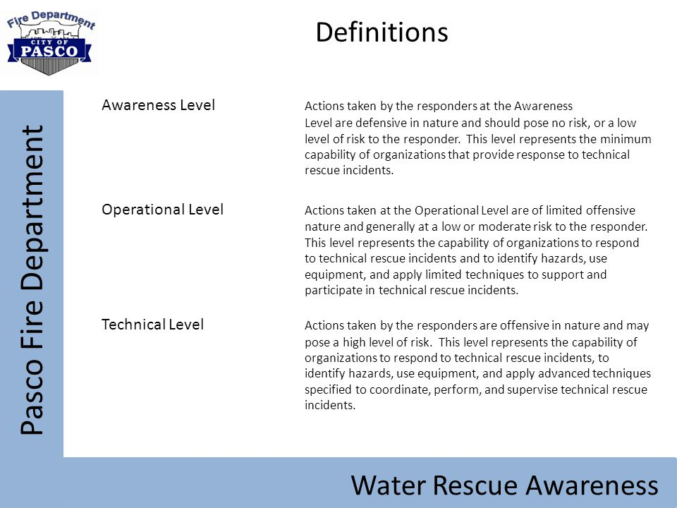 Pasco Fire Department Definitions Water Rescue Awareness