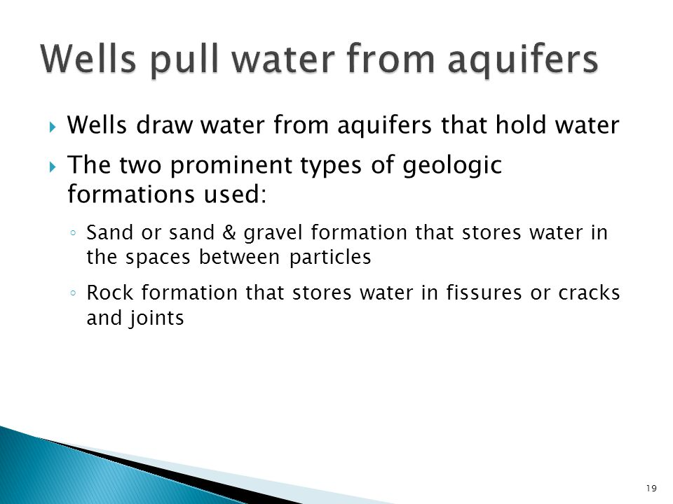 Wells pull water from aquifers
